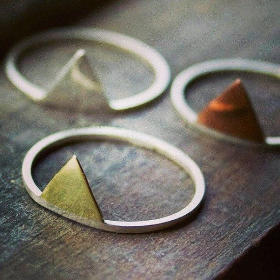 Triangle anneaux - empiler les bagues - bagues de flèche - géométriques anneaux - bijoux artisanaux - ensemble de trois