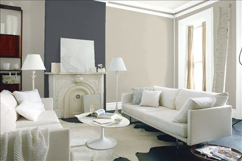Look at the paint color combination I created with Benjamin Moore. Via @benjamin_moore. Wall: Revere Pewter HC-172; Accent Wall: Deep Space 2125-20; Trim: Distant Gray 2124-70.