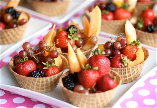 Fruit in a waffle bowl