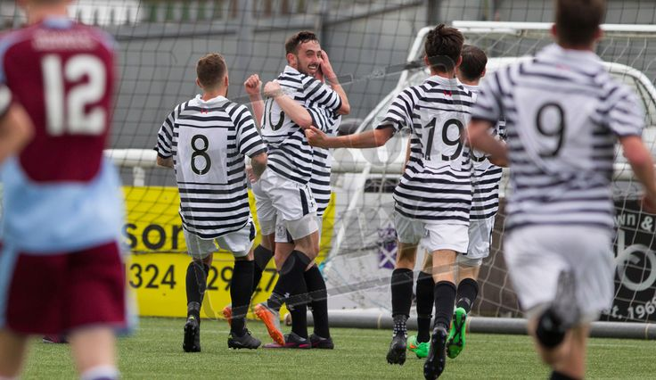 Queen's Park's players celebrate Josh Watt's winning goal during the Ladbrokes League One game between Stenhousemuir and Queen's Park.