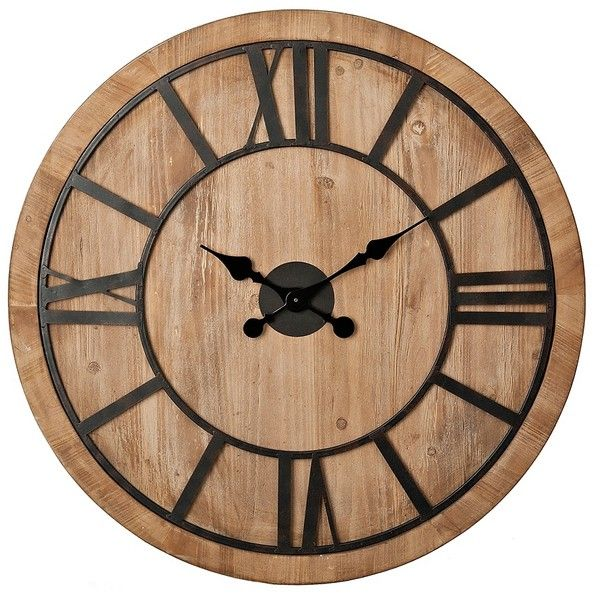 Liam Wood Carved Wall Clock ($70) ❤ liked on Polyvore featuring home, home decor, clocks, battery powered clock, wooden wall clock, wooden home decor, battery powered wall clock and battery operated clock