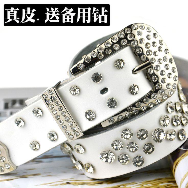 Дешевое Женская белый горный хрусталь ленты с алмазными сверкающий бриллиант пояса женщин кожа из натуральной кожи ремень, Купить Качество Пояса и ремни непосредственно из китайских фирмах-поставщиках:  ДЕТАЛИ ПРОДУКТА