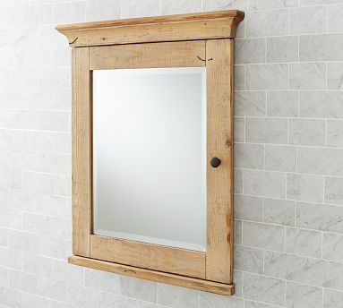 Mason Reclaimed Wood Recessed Medicine Cabinet   Wax Pine Finish  #potterybarn DOWNSTAIRS BATH