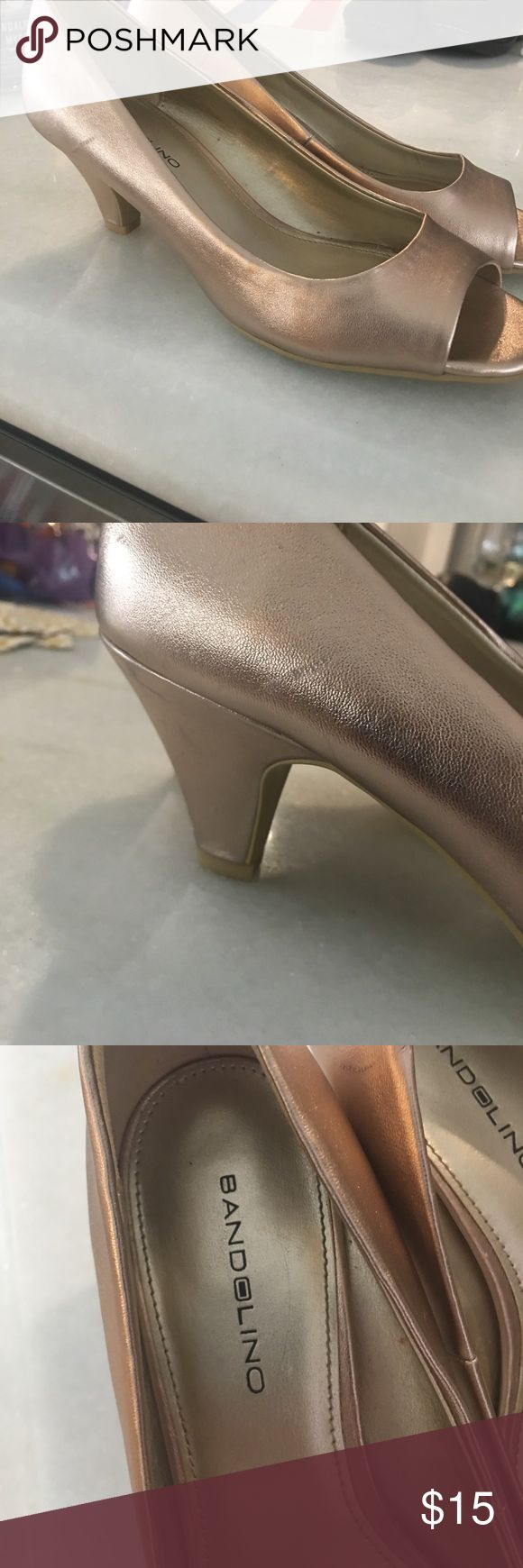 Rose gold peep toe heels Only worn once! These shoes are so comfortable and will go with so many colors Bandolino Shoes Heels