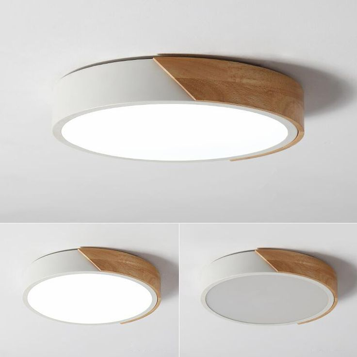 Dimmable Modern Minimalist Led Round Shaped Wood Metal Acrylic