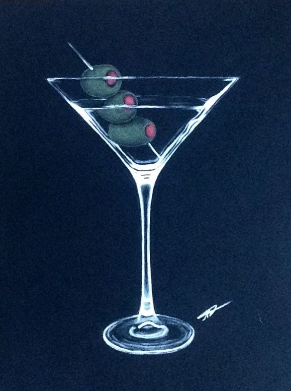 My martini glass drawing done with white charcoal on black paper