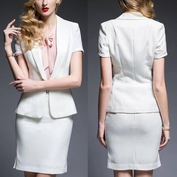 人気レディースファッショントレンドデザインエレガントビジネスオフィスOL上品職場女性社員魅力半袖フォーマルシャツスカートスーツ S23WH_画像3