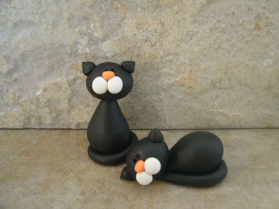 Halloween Kitty Pair by countrycupboardclay on Etsy, $9.95