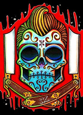 Mexican Skull Tattoo Design Red