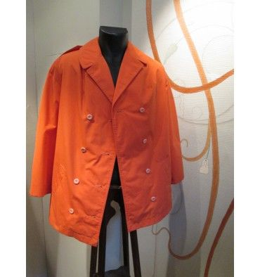 "::::::: Real vintage for men ::::::::::: Veste orange sanguine ""saharienne"" (mi-veste, mi-chemise). manches 3/4. T: M  Shop ONLINE : www.vintagemarket.be"