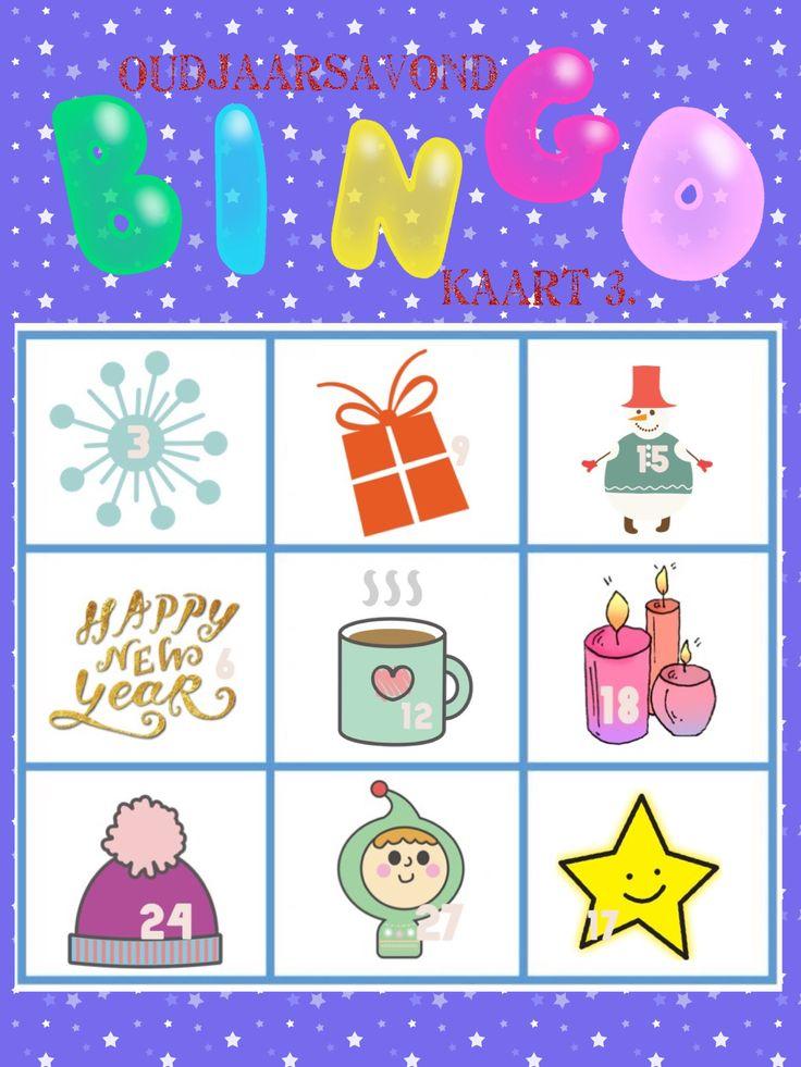 Oudjaar bingo kaart 3 van 6 voor oud en nieuw