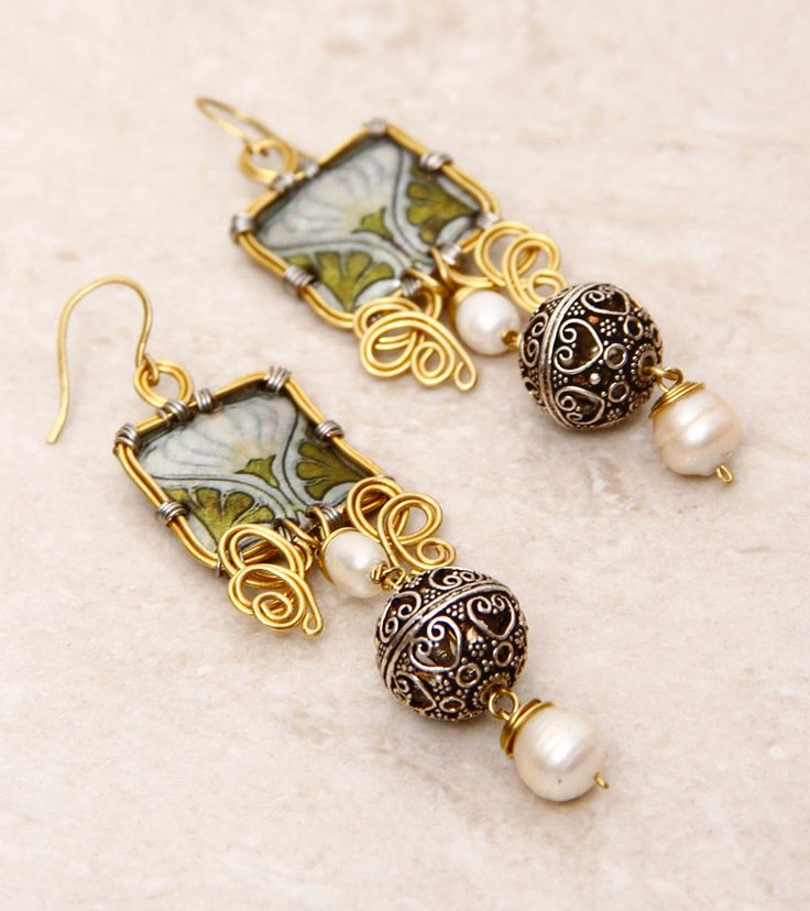 SILVER NUT TREE - Green Painted & Embellished Pet Plastic Earrings Click on the photo to shop! :)