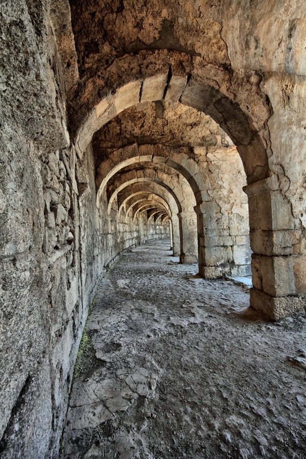 Circular Colonnade in Amphitheatre at Aspendos, Turkey