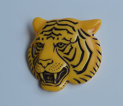 Vintage Signed Western Germany Tiger Head Carved Lucite Brooch Bakelite Celluloid