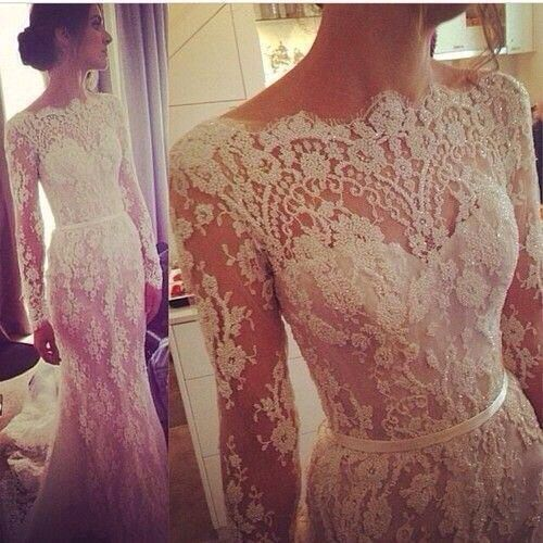 2015 Spring Wedding Dresses Lace Appliques High Neck Long Sleeve See Through Sweep Train Mermaid Bridal Gowns