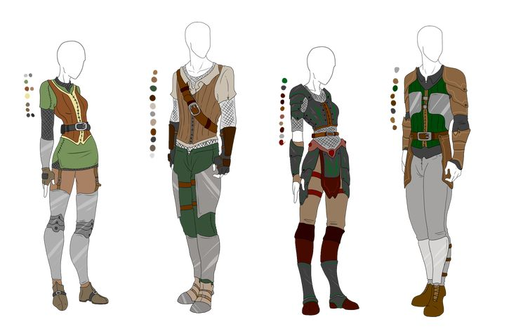 Leather Light Armor Outfit Adopts - 4 pack - SOLD by ShadowInkAdopts.deviantart.com on @deviantART