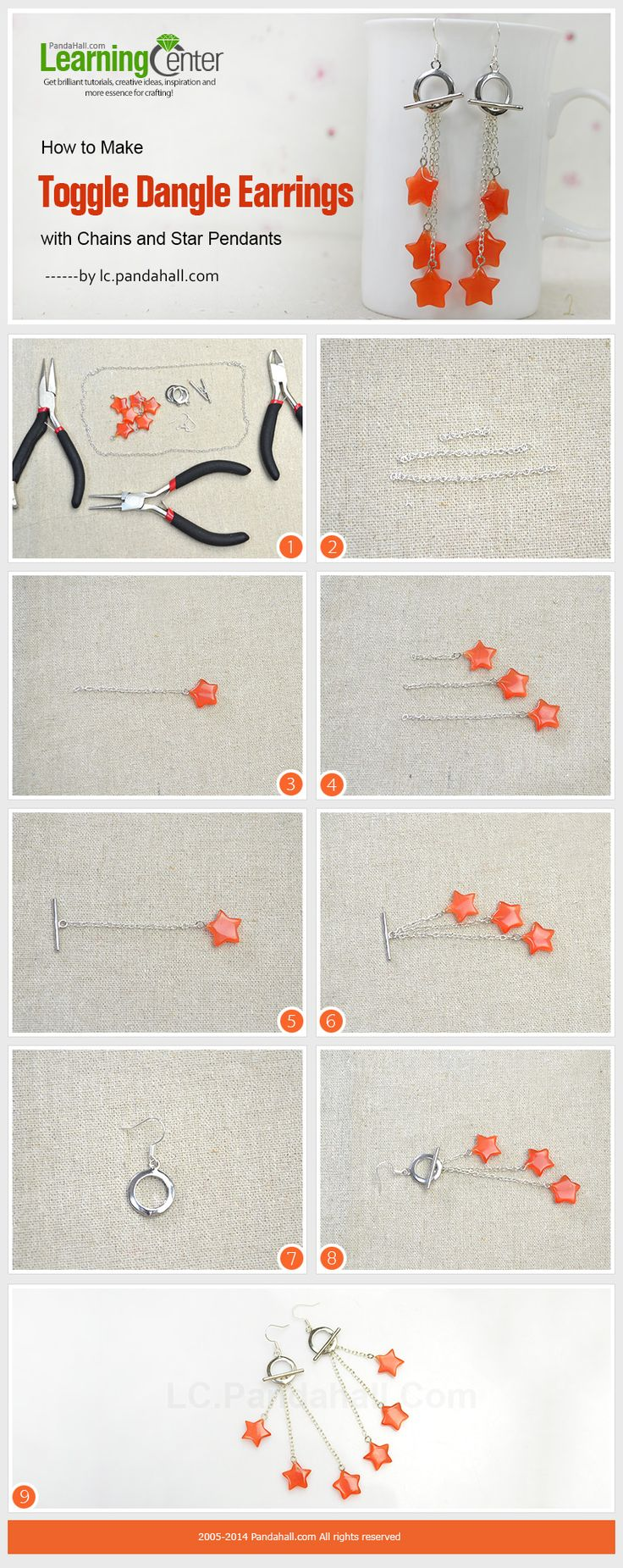 How to Make Toggle Dangle Earrings with Chains and Star Pendants