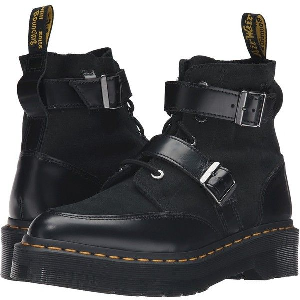 Dr. Martens Masha Creeper Boot (Black Polished Smooth) Women's Lace-up... (210 CAD) ❤ liked on Polyvore featuring shoes, boots, creeper boots, lace-up platform boots, platform shoes, lace up boots and dr martens shoes