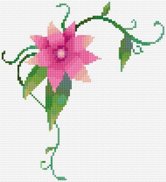 Pink Flower Corner Xstitch Chart