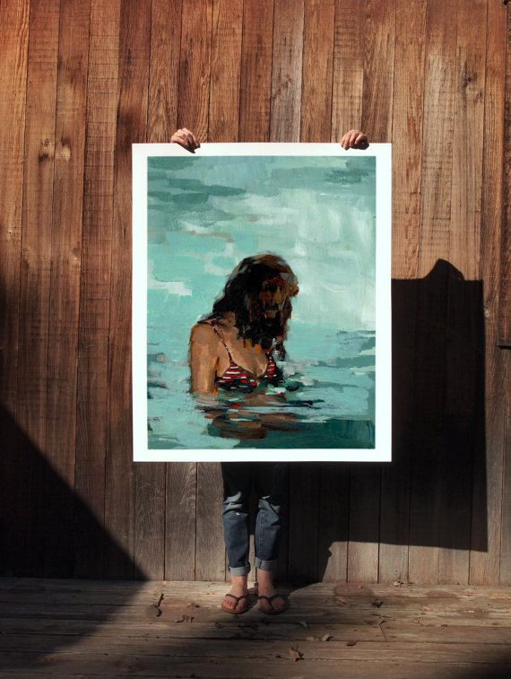 Summer Girl .  extra large wall art . giclee by ClareElsaesser
