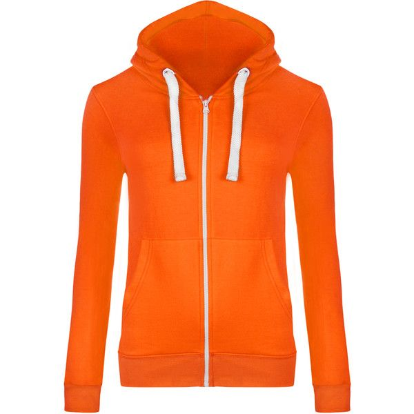 WearAll Basic Zip Up Hoodie Top ($8.71) ❤ liked on Polyvore featuring tops, hoodies, fluorescent orange, zipper hoodie, zipper hoodies, hooded zip sweatshirt, hooded pullover and orange zip up hoodie