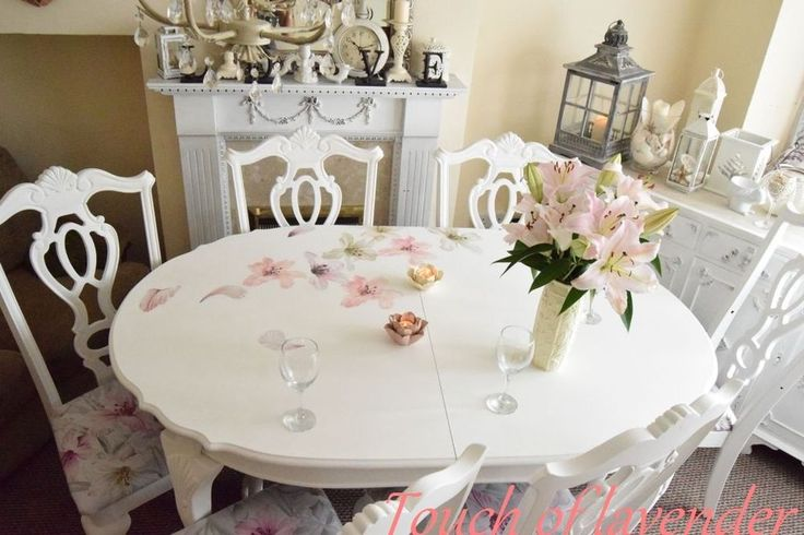 Stunning Shabby Chic Chunky Farmhouse Dinning Table And 6 Chairs Wood White