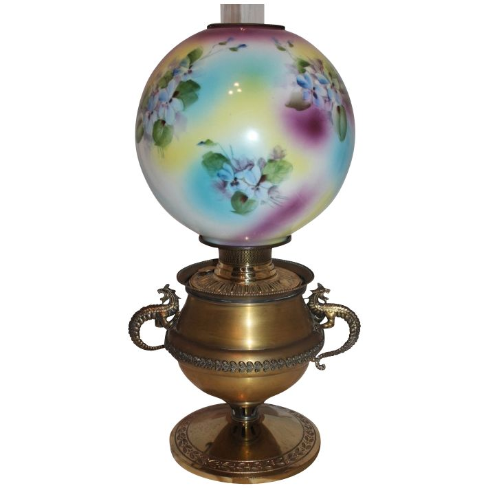 Attractive Wonderful RARE Bradley Hubbard Dragon Handled Banquet Oil Lamp ~Original  Hand Painted Masterpiece Shade With