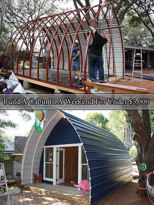 Build A Cabin In A Weekend For Under $5,000. omgosh I love this!! it would be great as just a little hideaway/private area for yoga and meditation