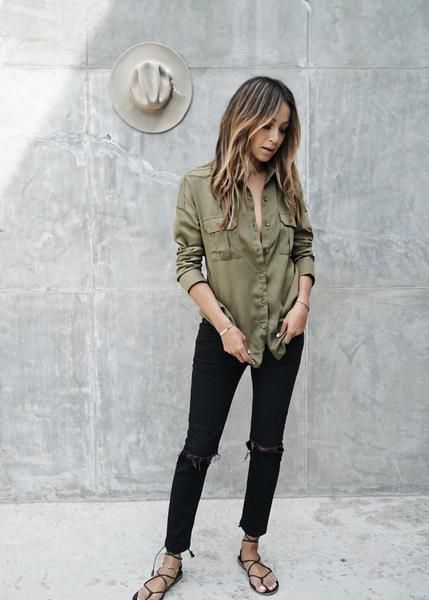 If I had a uniform this might be it, but with Myari Birks, or · Summer  Teacher OutfitsLook ComSincerely JulesGreen ShirtBlack