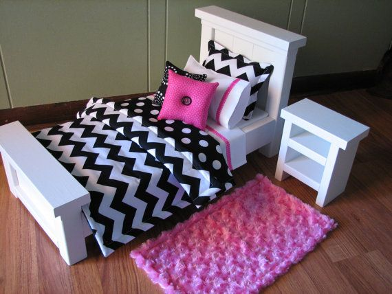 Chevron Bedding Set for American Girl Doll or by MadiGraceDesigns, 27.00. Reversible comforter 17 x 21