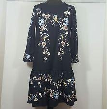 Abito vestito mini nero fantasia floreale nuovo primavera
