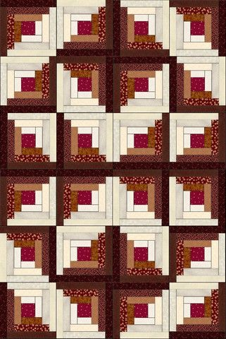There are 6 different brown tone fabrics, 5 creams and 1 red in this quilt kit. With the log cabin quilt pattern there are several layouts possible, you can experiment before sewing your blocks togeth