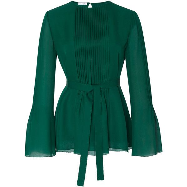 Oscar de la Renta     Long Sleeve Pleated Blouse (5.840 BRL) ❤ liked on Polyvore featuring tops, blouses, green blouse, long sleeve tops, crew top, oscar de la renta top and pleated blouse
