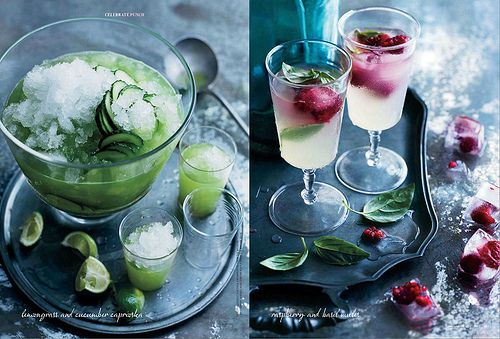 Lemongrass Cucumber and Raspberry Basil Cocktails Photographs from Donna Hay (Issue 59)