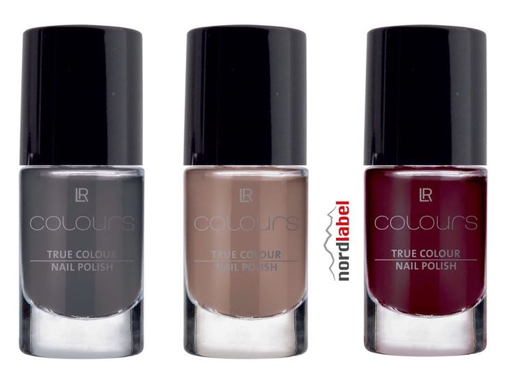 LR Colours True Colour Nail Polish Smokey Grey, Brown Truffle, Black Cherry