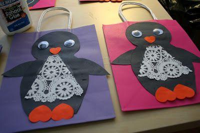 handmade penguin collage gift bags