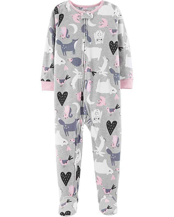 d3641b835 Carter s Baby Girls  One-Piece Fleece Footie Pajamas (Heather ...