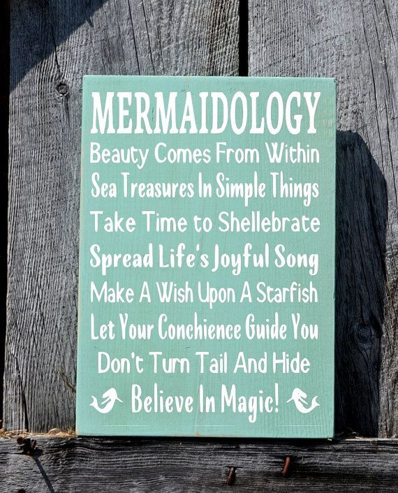 "Original Written By Me Personally For Our Daughter - Mermaidology - Mermaid Beach Signs, 18x12"" Size, Hand Painted, Beach Rules House Decor, Unique Cottage Ocean Theme Wood Sign Bedroom Bathroom Nauti"