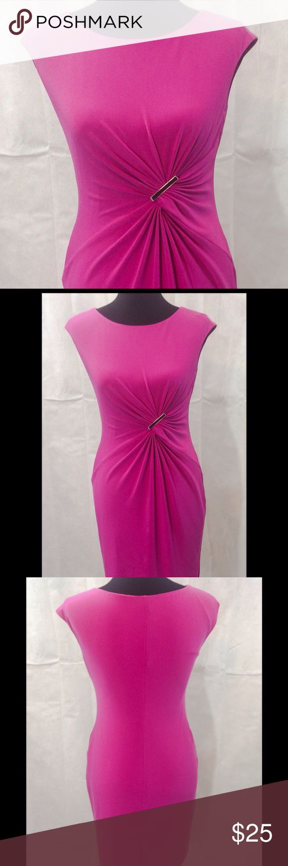 Vibrant Fuchsia Anne Klein Dress What a Vibrant color. Beautiful Fuchsia Dress gathers at the waist to add texture and draw attention to your curves. GUC.  Fully lined. 95% polyester, 5% spandex. Dry Clean. Anne Klein Dresses Midi