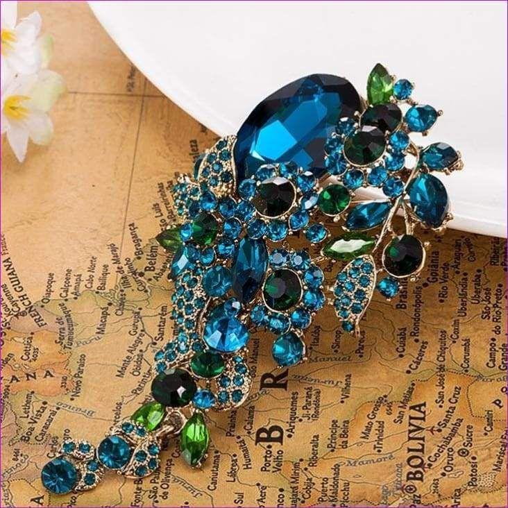 Vintage Strass Saphir Fleur Bouquet broches pin Mariage Demoiselle D/'honneur Bijoux