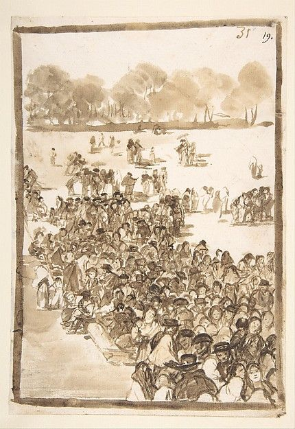 Goya--Crowd in a Park, from Images of Spain Album (F), page 31