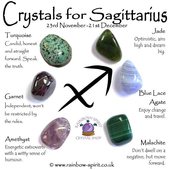 A set of birthstone crystals (Turquoise, Garnet, Amethyst, Jade, Blue Lace Agate and Malachite) for the Zodiac star sign Sagittarius, 23 November - 21 December. The set includes the six stones and a pouch, and comes as a set with a mini printed copy of the poster with information to