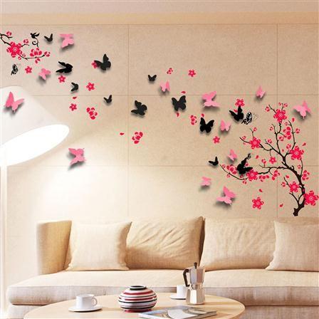 Set de adhesivos murales rbol en flor y mariposas de for Mural de flores y mariposas