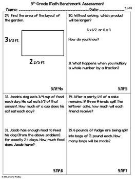 5th Grade Common Core Math Benchmark Assessment All