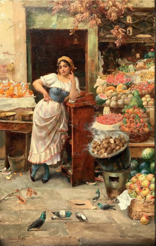 "Stefano Novo (Cavarzere 1862-1927 Padua), ""The beautiful fruit vendor"". signed 'Venice 1900'. 60 x 38 cm. Start price: 8,000 Euro."