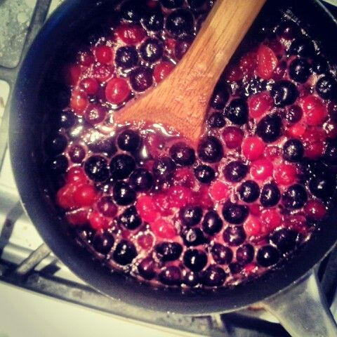 Making a red & blue berry sauce :-)