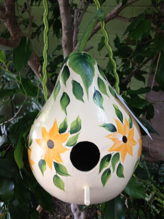 Large HandPainted Gourd Birdhouse by OldeFarmCrafts on Etsy, $20.00