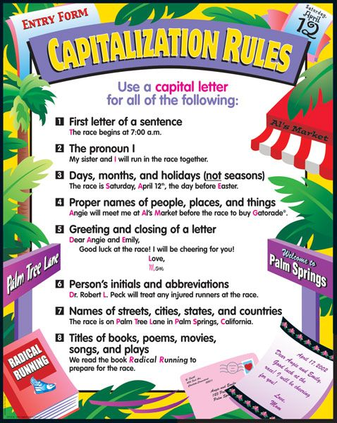 capitalization and punctualtion Use correct punctuation, capitalization, and commas 1st and 2nd grades advanced level capitalizing seasons and directions learn the rules for capitalizing seasons and directions with this printable grammar exercise 4th and 5th grades.