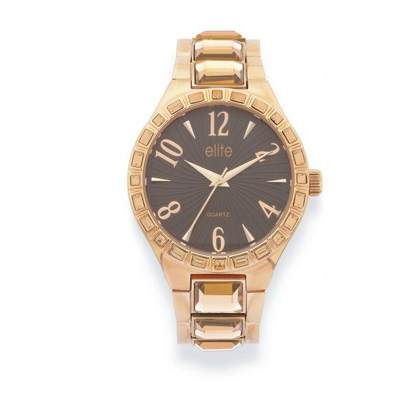 Elite Ladies Rose Tone Pink Crystal Watch