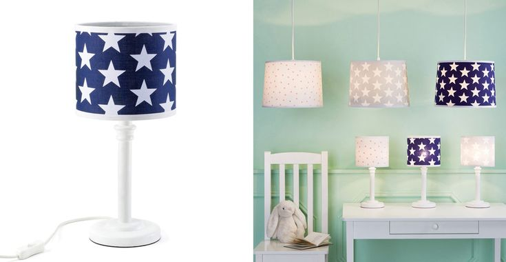 Children's Bedside Lamp - Navy Star